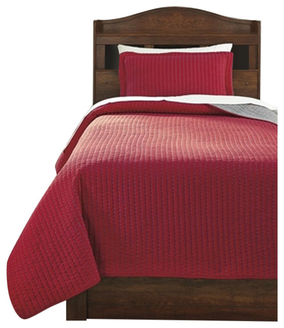 Ashley Twin Coverlet Set Dansby, Red/Gray Contemporary Quilts And Quilt