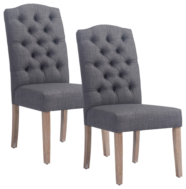 Tara Button-Tufted Side Chairs, Set Of 2, Gray.