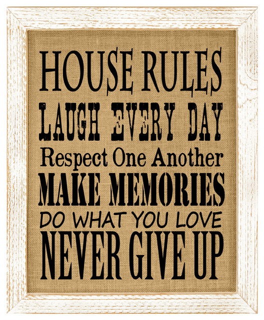 House Rules Burlap Wall Art.