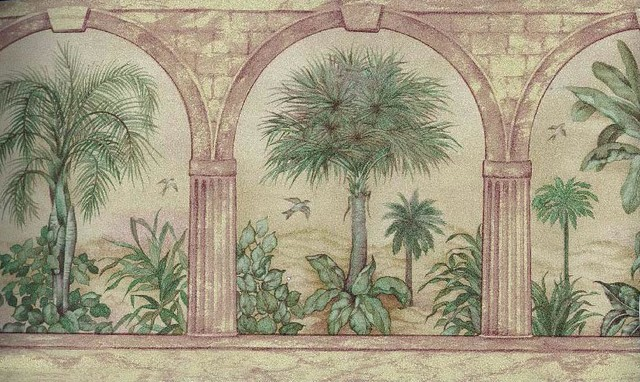 Palm Tree In Arches Wallpaper Border Roll Tropical