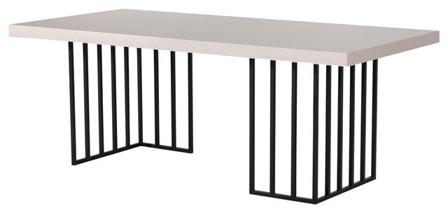 Modrest Hope Modern Dining Table, Gray Gloss.