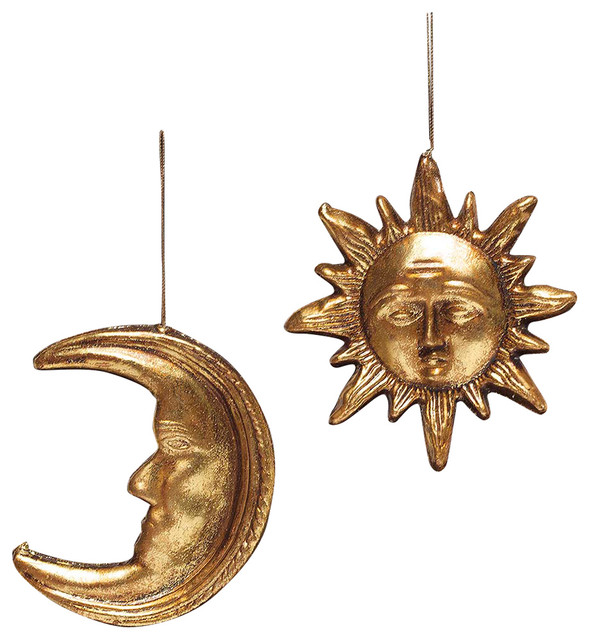 Antique Gold Sun And Moon Ornament Set Of 2