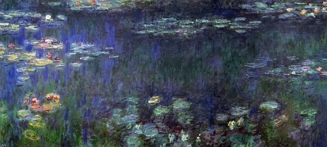 Claude Oscar Monet Green Reflection, Left Half Gallery Wrapped Canvas Print. -1