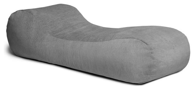 Jaxx Arlo Bean Bag Chaise Lounge Chair, Gray.