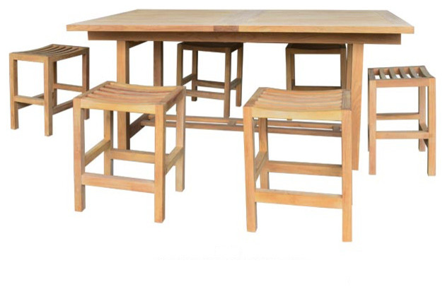 7 Piece Teak Counter Height Set With Portland Stools