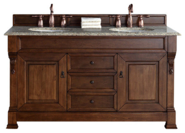 60 Double Bowl Vanity Top Only Santa Cecilia Stone Traditional Bathroom Vanities And Sink Consoles By J Keats