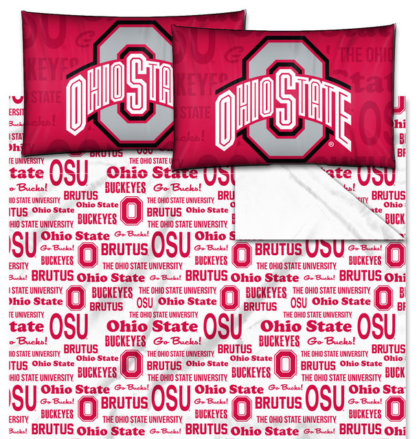 Ncaa Ohio State Buckeyes Full Sheet Set Anthem Bedding