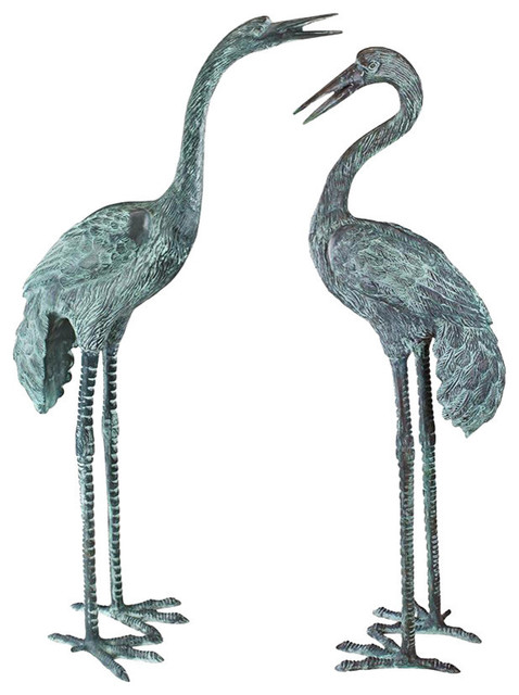 Bronze Crane Sculptures Set Of 2 Large Traditional Garden Statues And Yard Art By Design