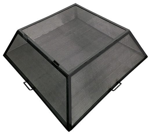 "Master Flame Fire Pit Screen, Hinged Access, Stainless Steel, 29""x29"""