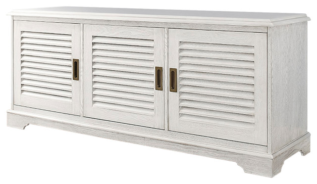 60 Quot Louvered Door Tv Console White Wash Transitional