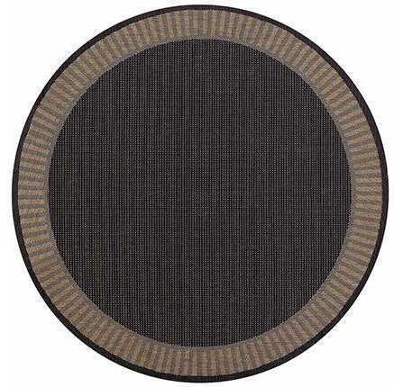Recife Wicker Stitch Black Round Outdoor Rugs Contemporary