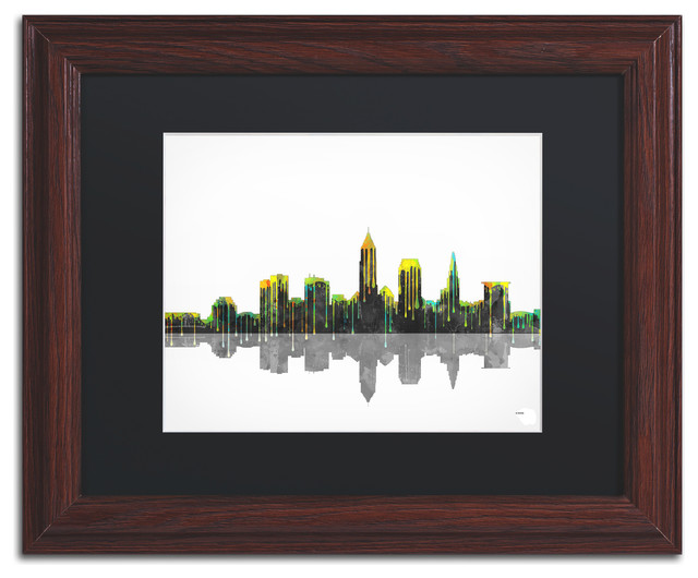 Cleveland Ohio Skyline Matted Framed Canvas Art By