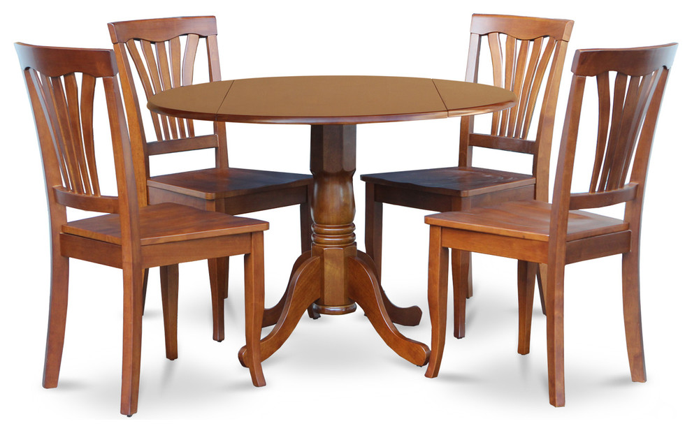 5-Piece Kitchen Nook Dining Set-Breakfast Nook Table and 4 Chairs Saddle  Brown