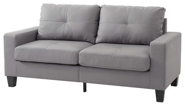 Newbury Faux Leather Modular Sofa, Gray.