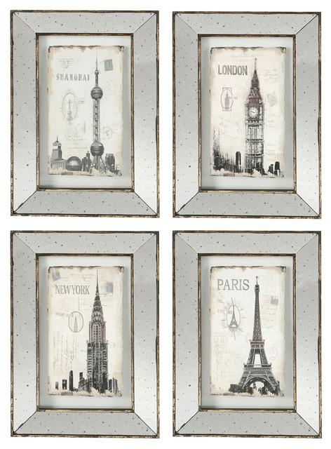 Wall Art With Mirror Frame : Antiqued mirror frames glass art city piece set