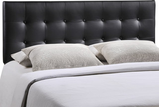 Modern Contemporary Queen Size Vinyl Headboard, Black Faux Leather