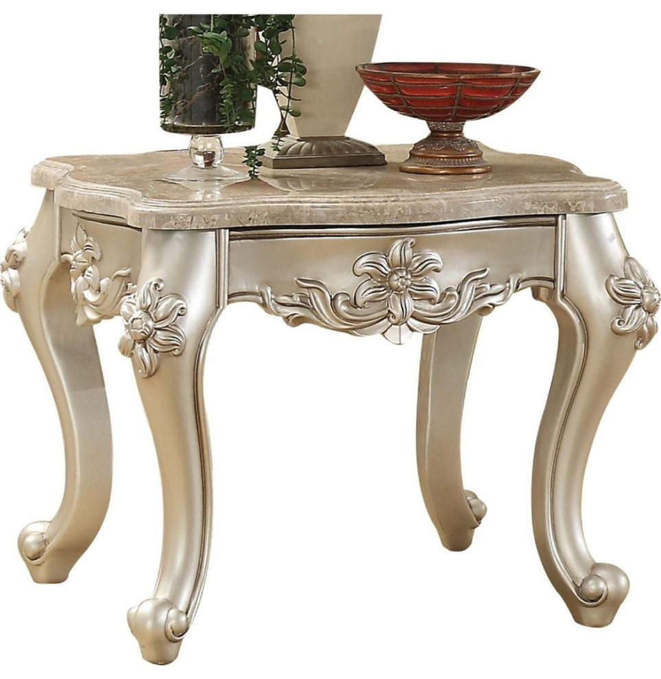 Marble Top End Table With Flower Motif Engraved Angular Wood Feet Silver Victorian Side Tables And End Tables By Virventures