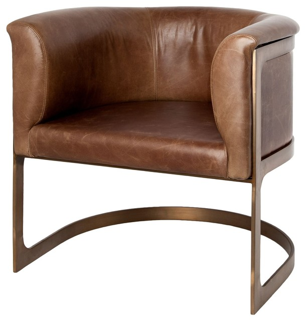 Bon Trava Leather Barrel Chair