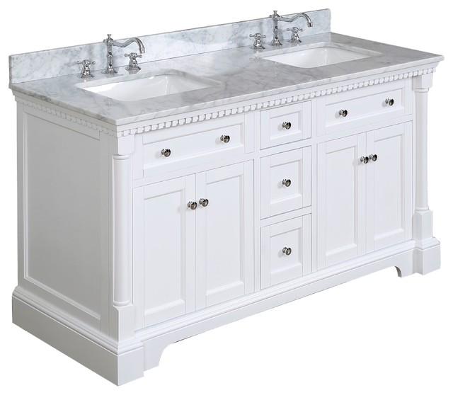 "Sydney Bath Vanity, White, 60"", Carrara Marble, Double Sink"