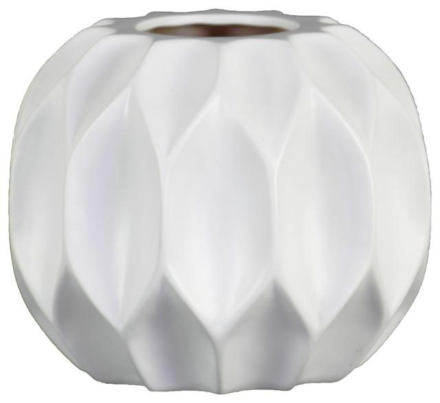 Ceramic Patterned Round Vase With Embossed Diamond Design