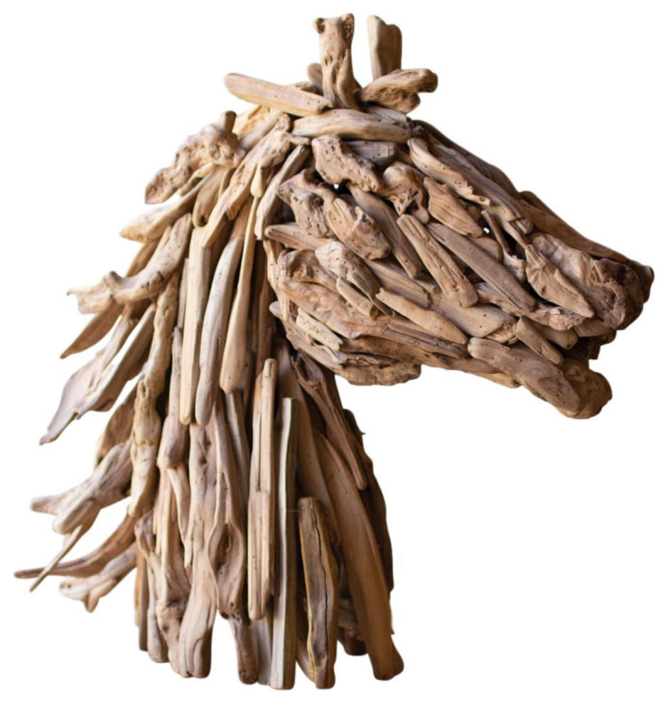 Majestic Driftwood Horse Head Bust Sculpture Collectible Farmhouse Stallion Rustic Decorative Objects And Figurines By My Swanky Home Houzz
