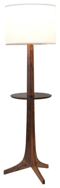 Nauta Floor Lamp, Brushed Brass, Walnut, White Linen/Black Hpl Top Surface, Matc