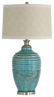 Beautiful Beta Ceramic Table Lamp, Teal   Southwestern   Table Lamps   By Aspire Home  Accents, Inc.