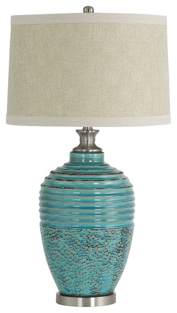 Beta Ceramic Table Lamp, Teal.