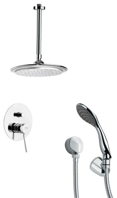 Chrome Shower System With 9 Rain Ceiling Shower Head and Hand Shower by Nameeks