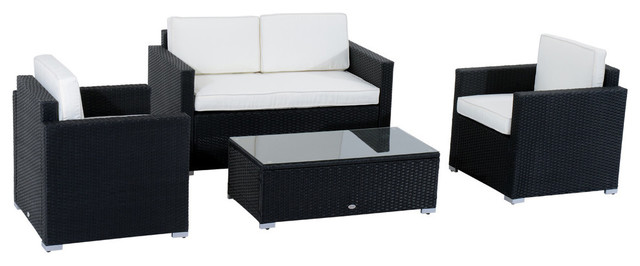 4 Piece Cushioned Outdoor Rattan Wicker Sofa Sectional Patio Furniture Set  Modern Outdoor