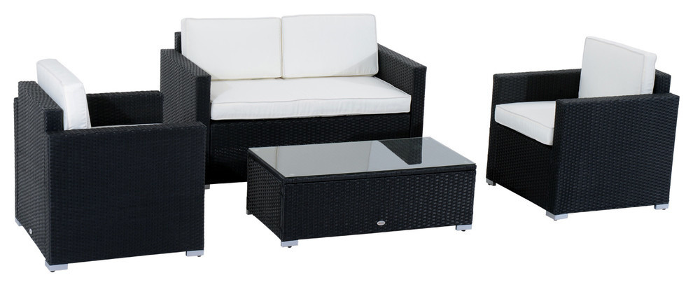 Outsunny 4pc Cushioned Outdoor Rattan