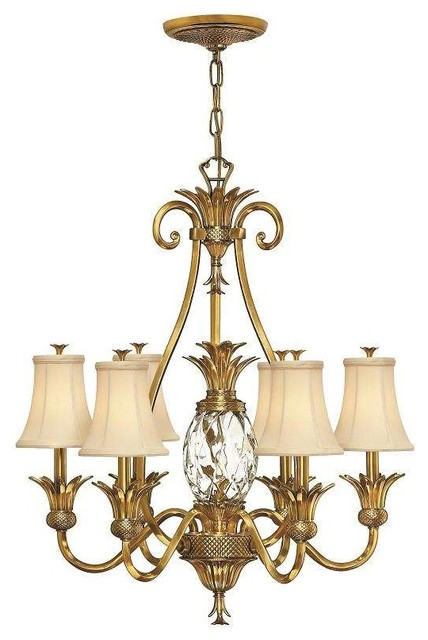 Hinkley Lighting 4886BB, Plantation Chandelier, Burnished Brass Tropical  Chandeliers