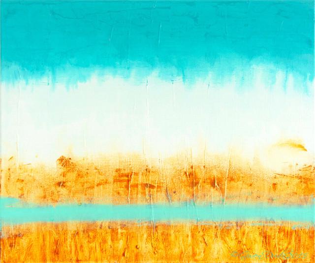 Gwen Duda Studios Original Abstract Painting Teal Blue
