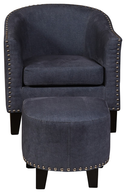 Barrel Accent Chair And Ottoman Denim 2 Piece Set
