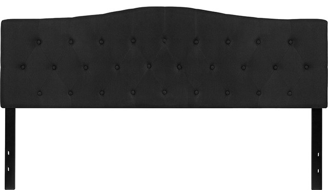 Cambridge Tufted Upholstered King Size Headboard In Black Fabric.