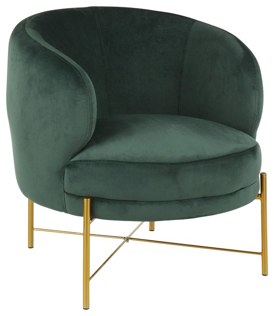 Chloe Accent Chair, Gold Metal, Emerald Green Velvet