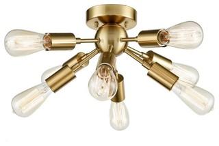 Antique Br Sputnik Chandelier With 8 Socket Flush Mount Ceiling Light Midcentury Lighting By Go