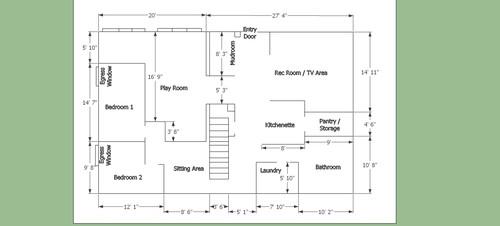 Garage Conversion Floor Plans floorplan for 2-car garage conversion