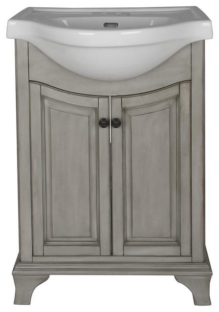 """26"""" Corsicana Single-Sink Bathroom Vanity, Antique Gray"""
