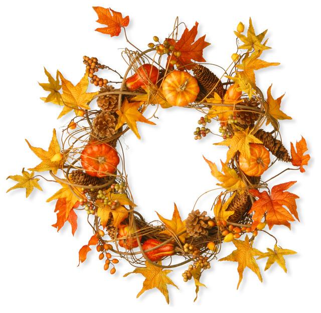 "20"" Maple And Pumpkin Wreath."