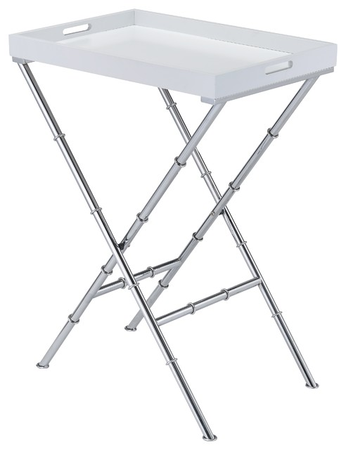 X Shape Metal Bamboo Inspired Legs Serving Tv Tray Table White And Chrome