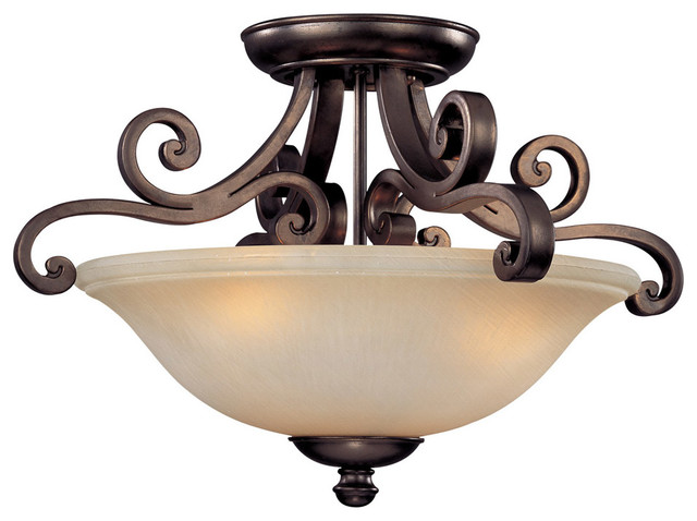 Brittany 3-Light Semi-Flush Mounts, Deep Bronze.