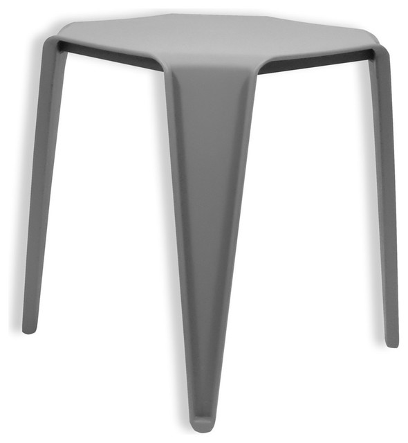 Urano Modern Gray Plastic Side Table, Gray Polypropylene, Gray,  Polypropylene_19 Contemporary Side