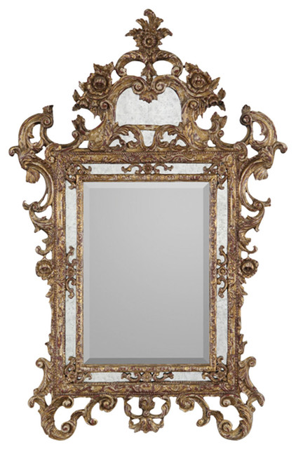 john richard ornate gold wood frame bevel mirror surrounded by eglomise jrm 0392 traditional