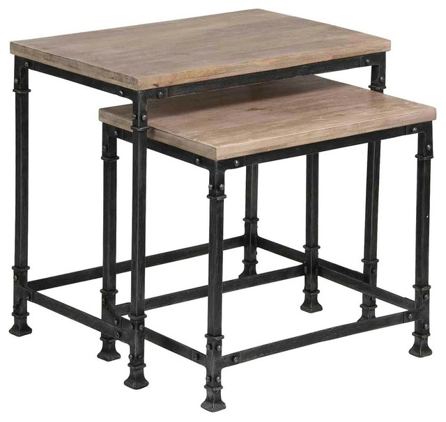 Nesting Tables, 2 Piece Set Industrial Coffee Table Sets
