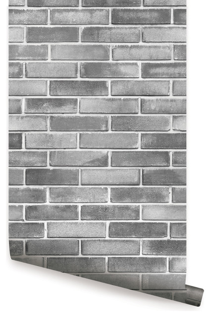 Grey Cement Brick Peel And Stick Wallpaper Contemporary Wallpaper By Simple Shapes