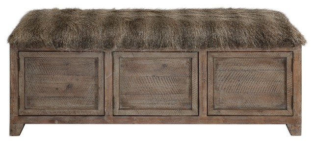 Shaggy Faux Fur Rustic Wood Storage Bench, Accent Cabinet Doors Long
