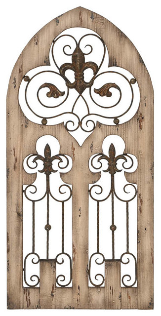 Enchanting Antique Wood Metal Wall Decor.