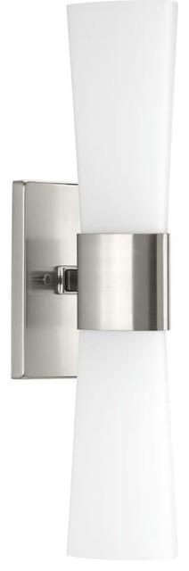 """Progress Lighting P300062 Zura 2 Light 21"""" Tall Bathroom Sconce - Nickel"""