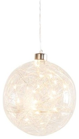 """Torre And Tagus Hanging Clear Glass 6"""" Led Decor Ball."""